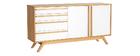 Aparador madera natural y blanca 2 puertas 4 cajones HELIA