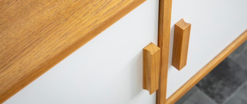 Aparador madera natural y blanca 4 puertas HELIA