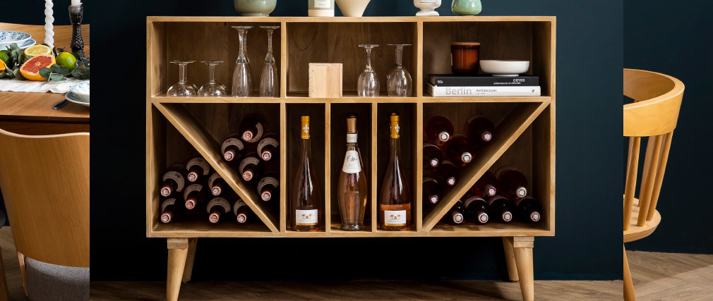aparador mueble de almacenaje de botellas o vinilos en mango macizo ISIDRO