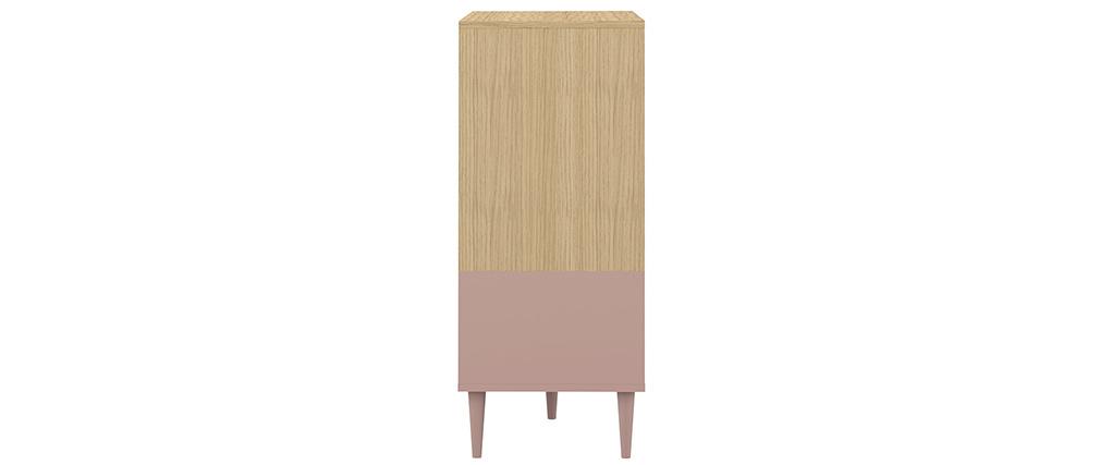 Aparador nórdico rosa y madera STRIPE