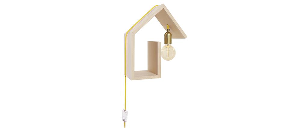 Aplique de pared diseño fijación derecha cable amarillo HUT
