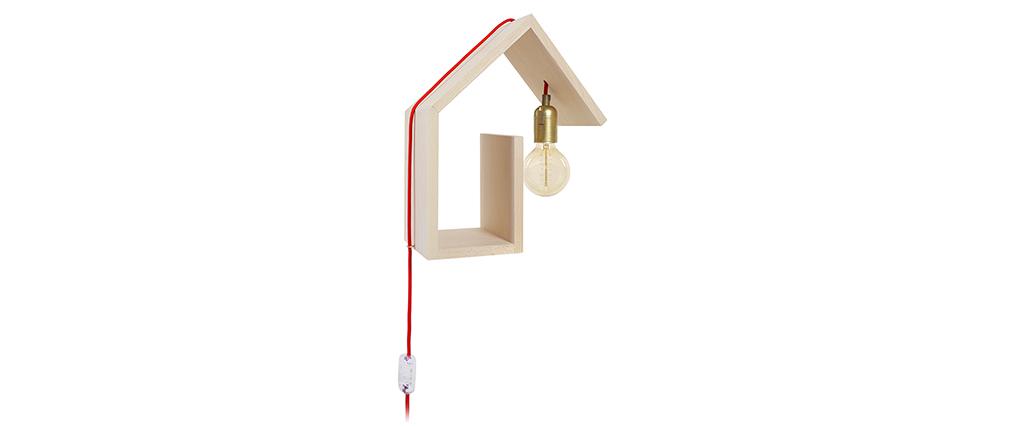 Aplique de pared diseño fijación derecha cable rojo HUT