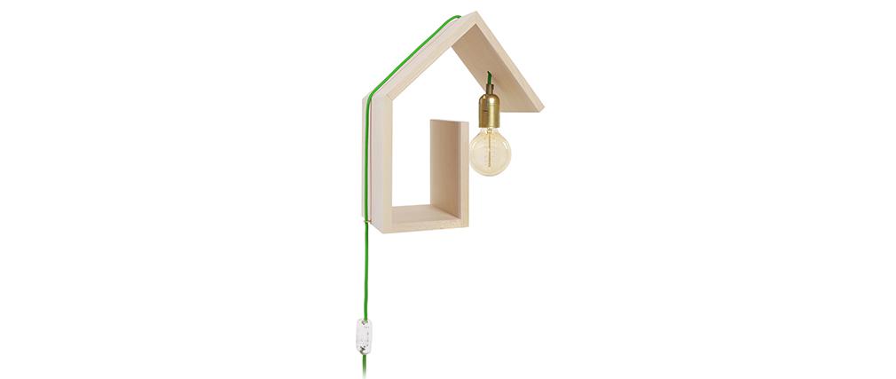 Aplique de pared diseño fijación derecha cable verde HUT