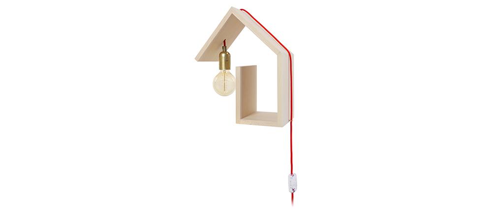Aplique de pared diseño fijación izquierda cable rojo HUT