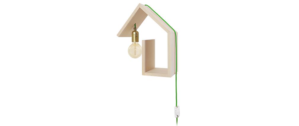 Aplique de pared diseño fijación izquierda cable verde HUT