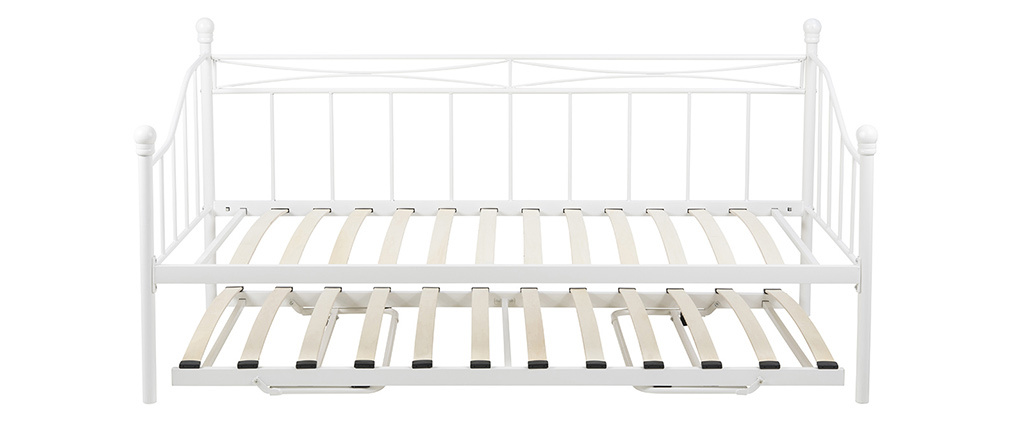 Banco-cama nido en metal blanco JULIETTE