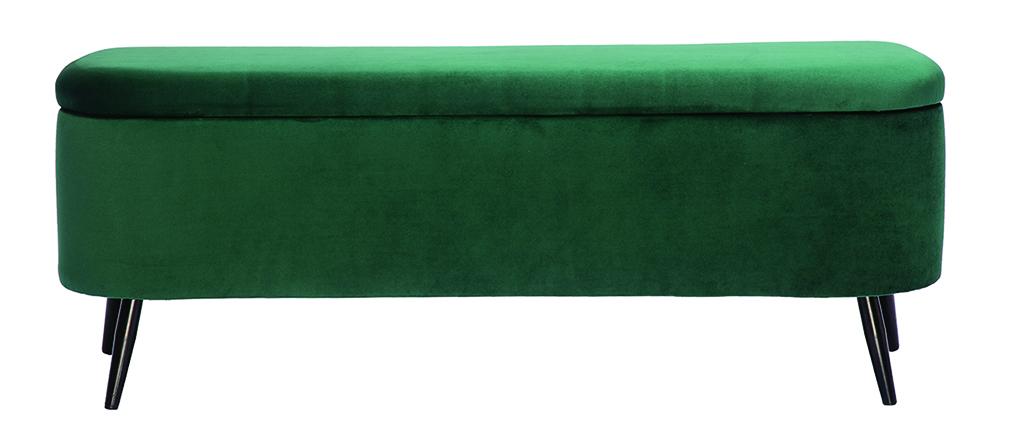 Banco cofre en terciopelo verde ATON
