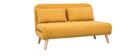 Banco convertible 2 plazas en tejido efecto terciopelo amarillo mostaza AMIKO
