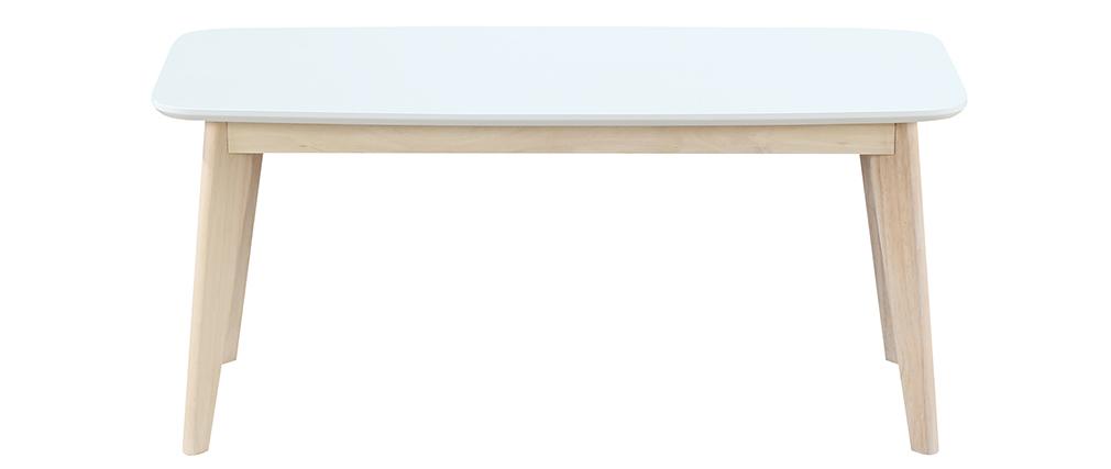 Banco diseño 100cm blanco y madera LEENA