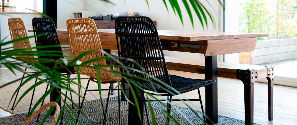 Banco diseño industrial metal y madera 180cm MADISON