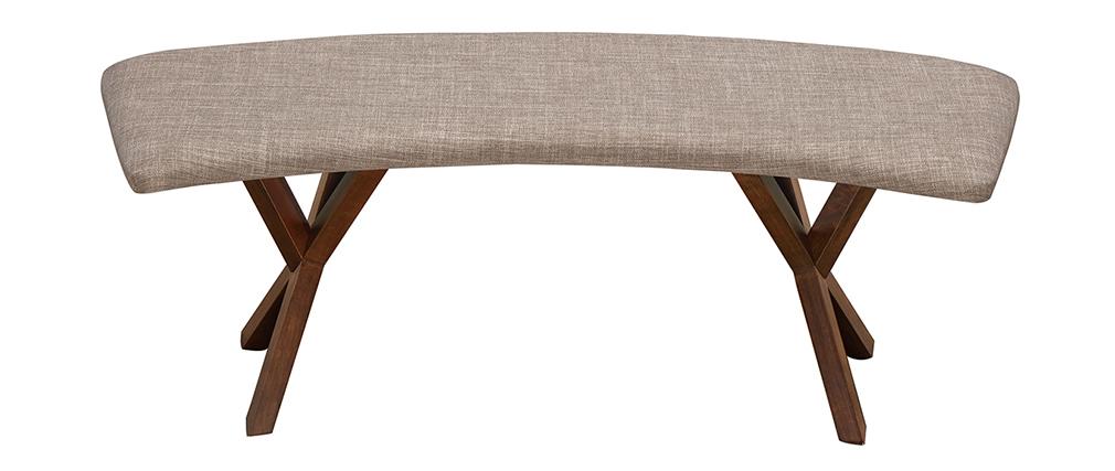 Banco diseño vintage nogal y tejido gris ANIK