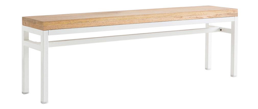 Banco mango y metal blanco 140cm BOHO