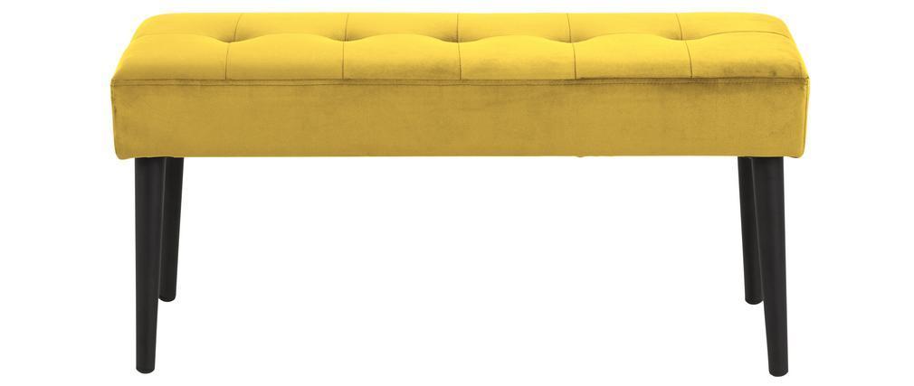 Banco moderno en terciopelo amarillo capitoné GUESTA