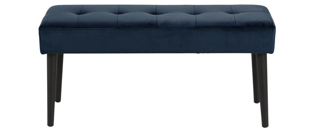 Banco moderno en terciopelo azul oscuro capitoné GUESTA