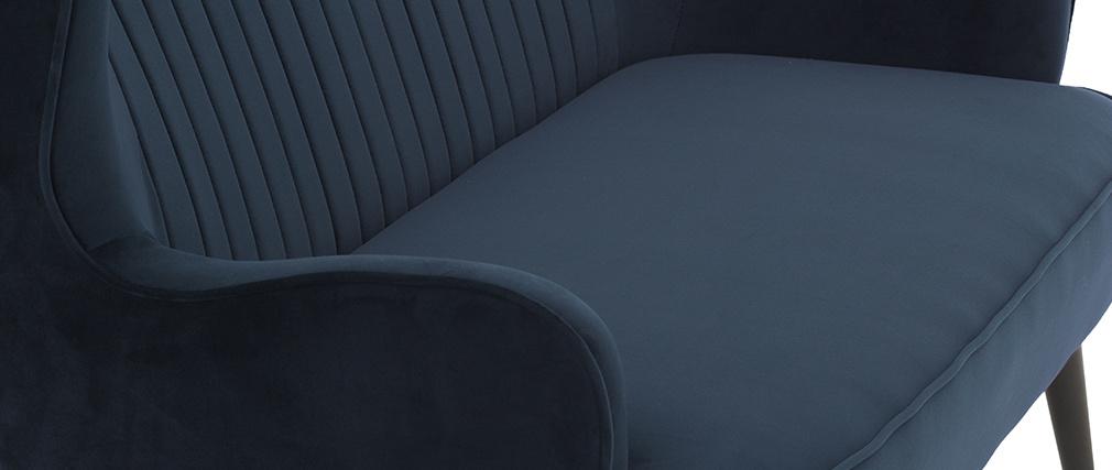 Banqueta moderna en terciopelo azul VERTIGO