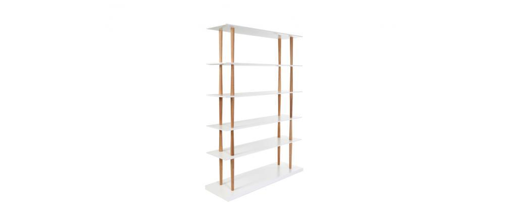 Biblioteca de diseño de madera natural y blanca 5 estantes GILDA