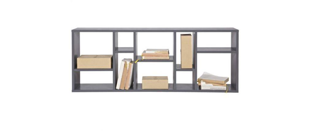 Biblioteca diseño compartimentado en madera gris CASYM