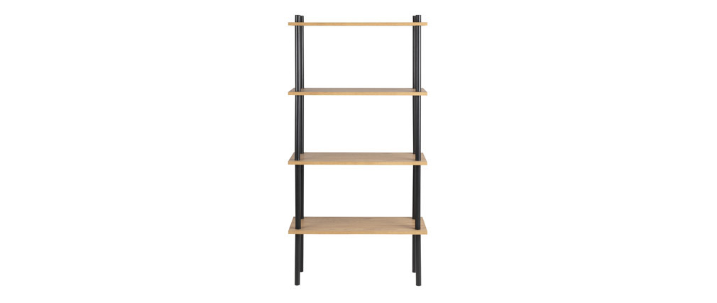 Biblioteca en metal negro y madera clara STAIR