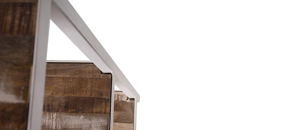 Biblioteca madera y metal blanco ROCHELLE