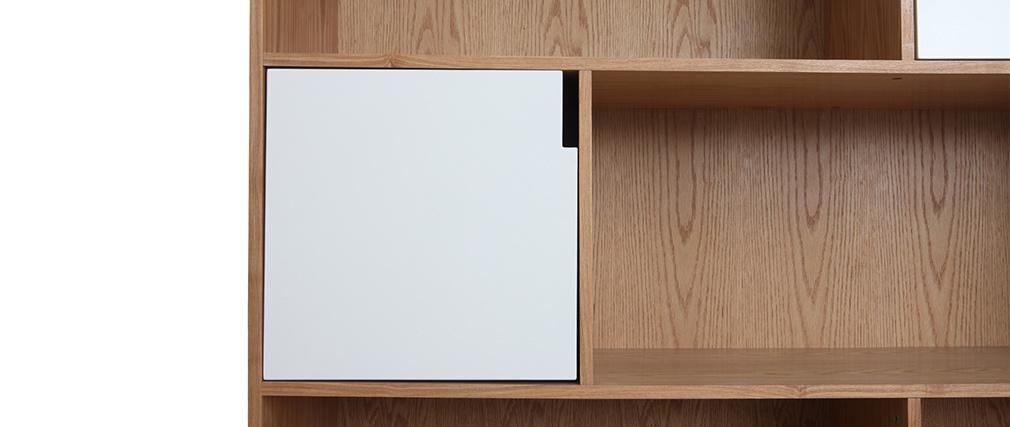 Biblioteca moderna con puertas blancas y roble INGRID