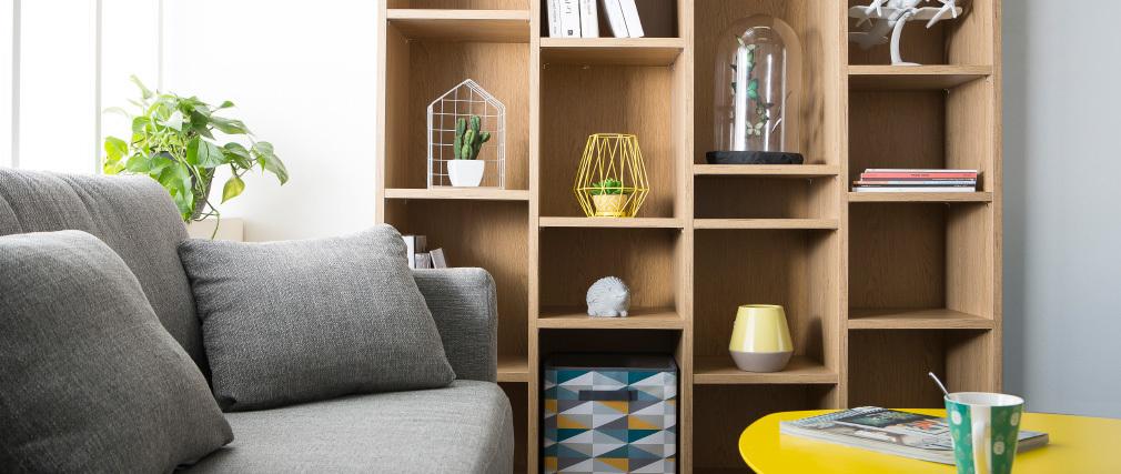 Biblioteca moderna en madera color roble RYTHM