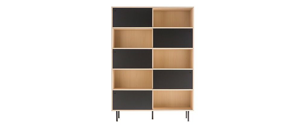Biblioteca moderna en madera con puertas correderas negras DOMINO