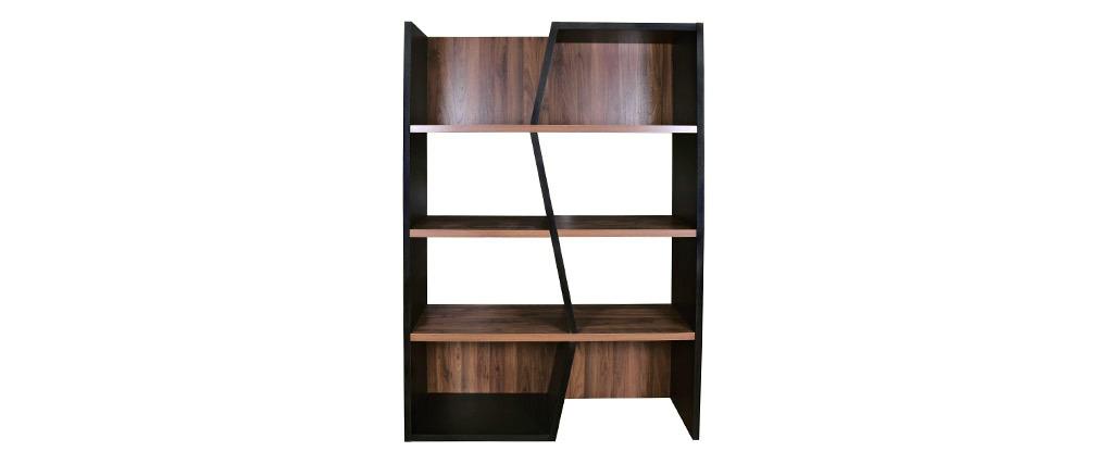 Biblioteca moderna madera oscura y negro SAGAN
