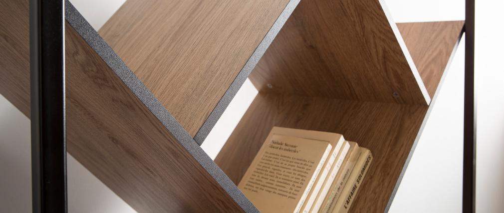 Biblioteca moderna madera y metal negro TAULA