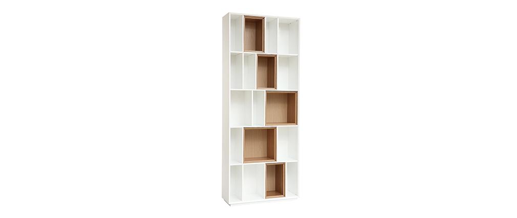 Biblioteca modular blanco y roble JAZZ