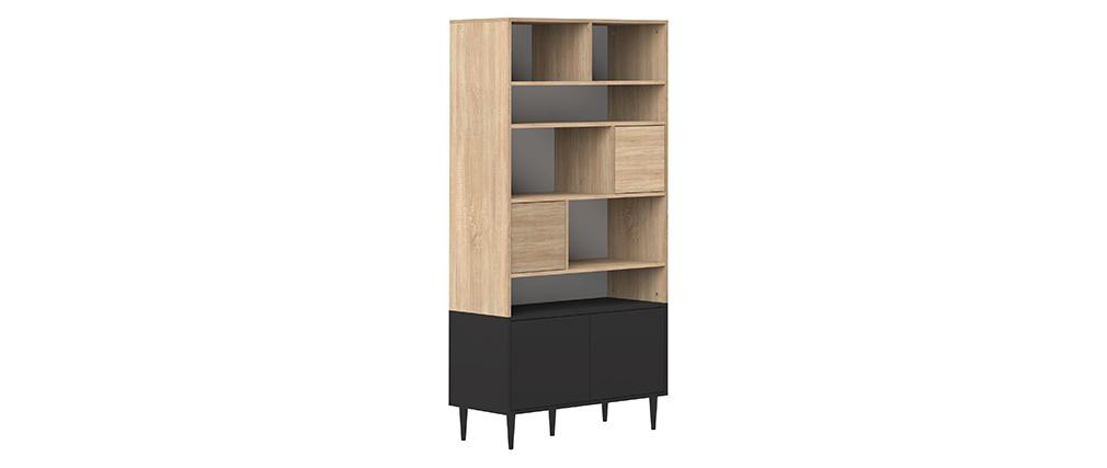 Biblioteca nordica 10 nichos madera y negro STRIPE
