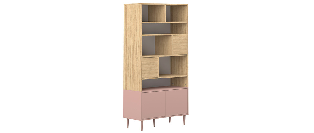 Biblioteca nordica 10 nichos madera y rosa STRIPE