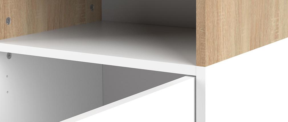 Biblioteca nórdica 6 nichos madera y blanco STRIPE