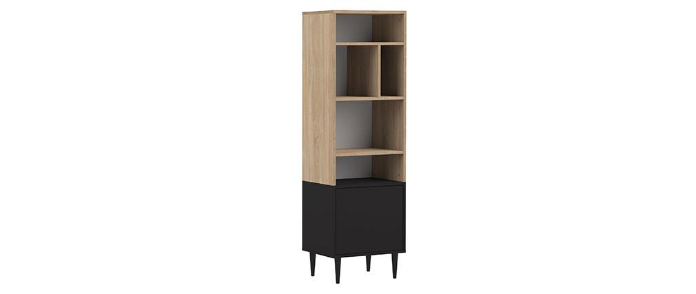 Biblioteca nórdica 6 nichos madera y negro STRIPE