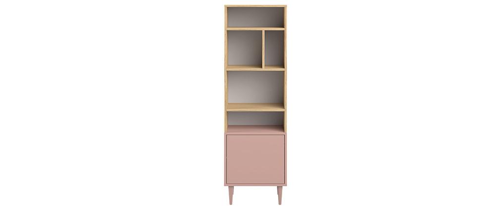Biblioteca nórdica 6 nichos madera y rosa STRIPE