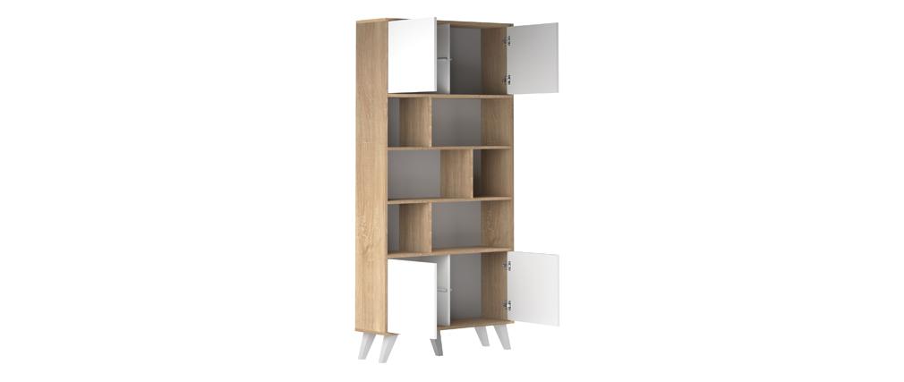 Biblioteca nórdica madera y blanca ORIGAMI