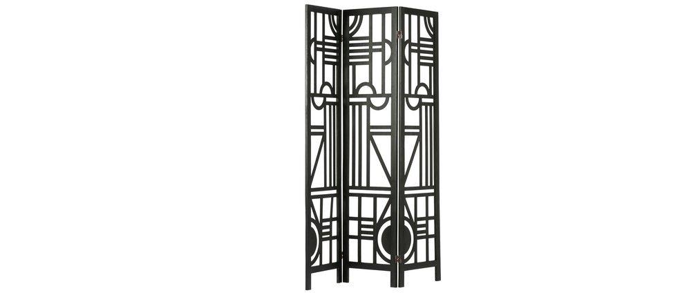 Biombo en madera negro con motivos geométricos A170 cm KEOPS