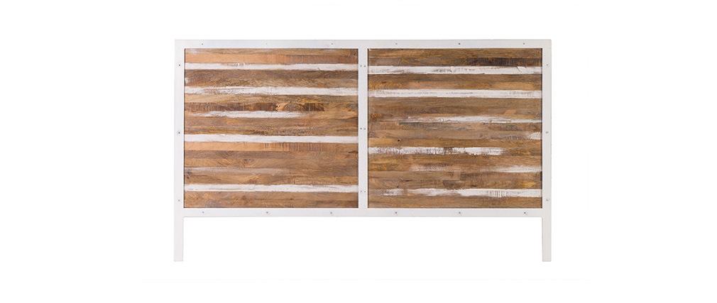 Cabecera madera y metal blanco 170 x 100 ROCHELLE