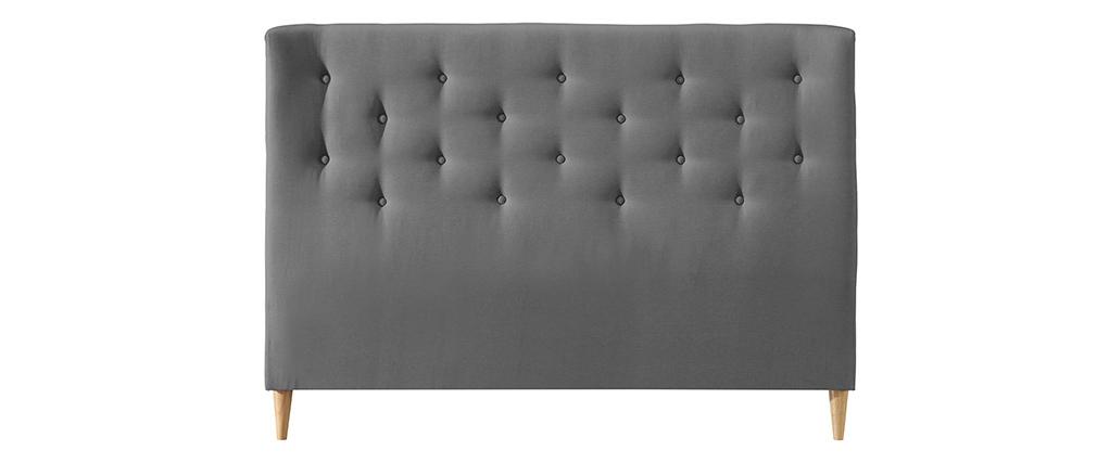 Cabecero 140 capitoné en tejido gris claro EROS