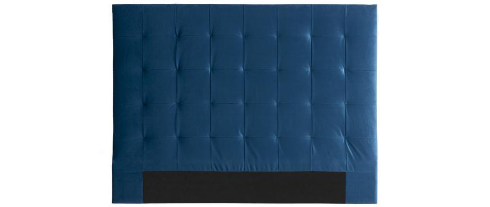 Cabecero efecto terciopelo capitoné azul petróleo 160 cm HALCIONA