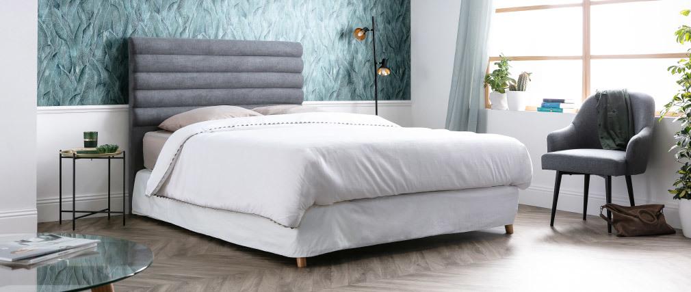 Cabecero moderno en tejido gris claro 140 cm HORIZON