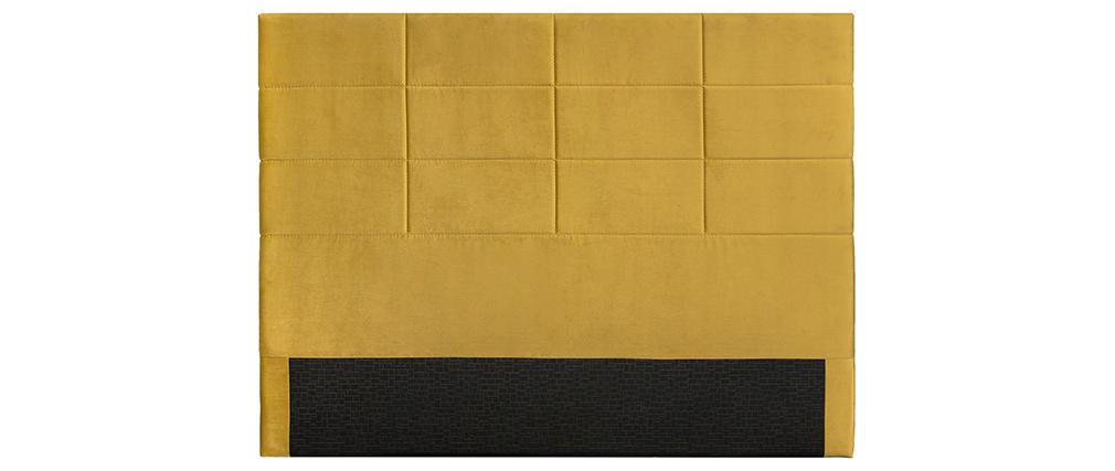 Cabecero moderno en terciopelo amarillo mostaza 160 cm ANATOLE