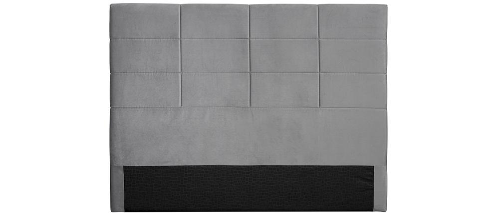 Cabecero moderno en terciopelo gris 160 cm ANATOLE
