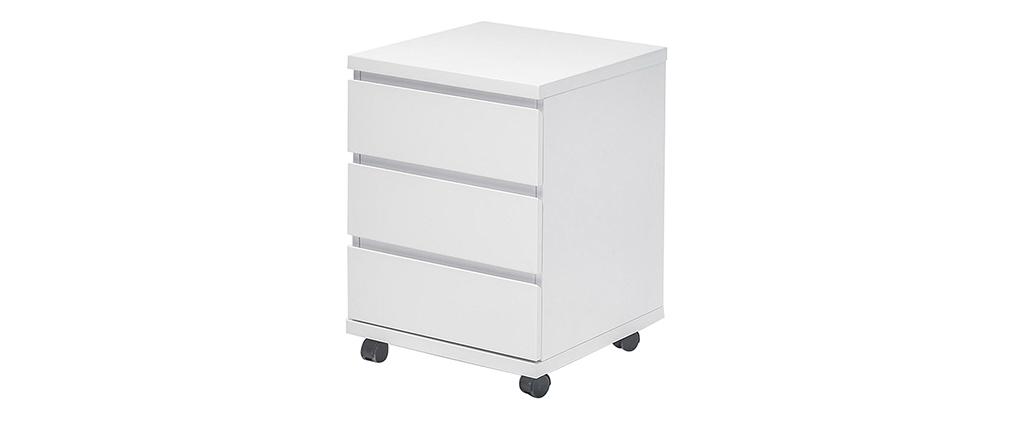 Cajón de almacenaje con ruedas blanco lacado brillante SKIVE