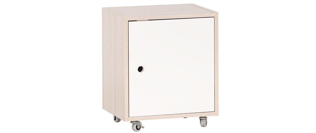 Cajón de almacenaje con ruedas blanco y madera NOHA