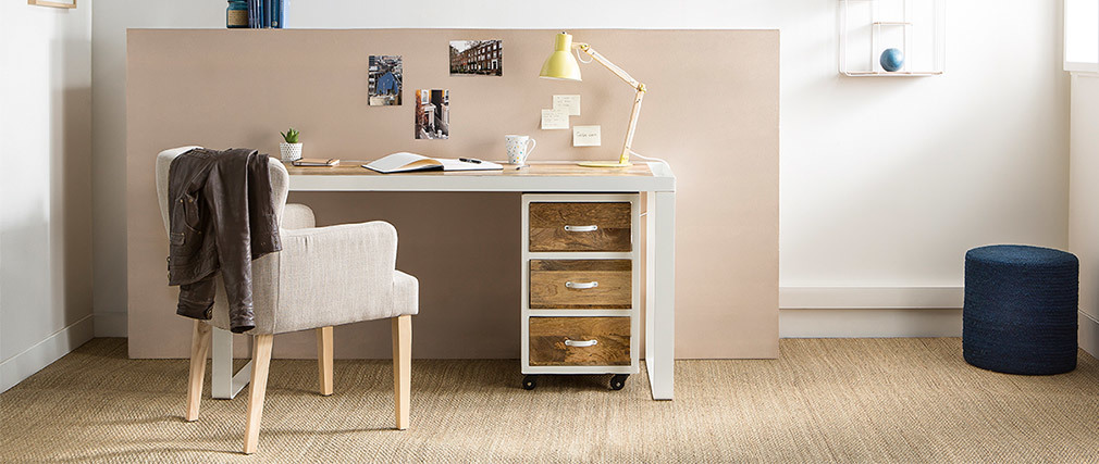 Cajonera de escritorio diseño industrial mango y metal blanco PUKKA