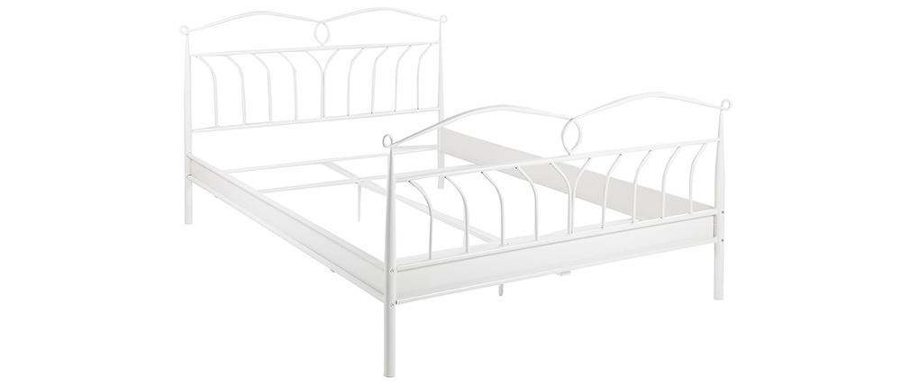 Cama 140 x 200 cm en metal lacado blanco NOTTE