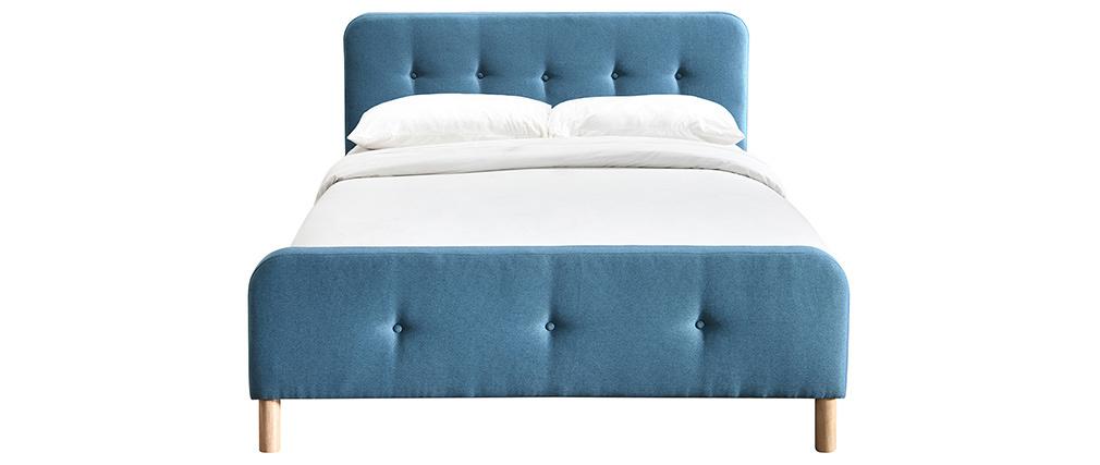 Cama 160 x 200 cm capitoné en tejido azul petróleo ORLANE