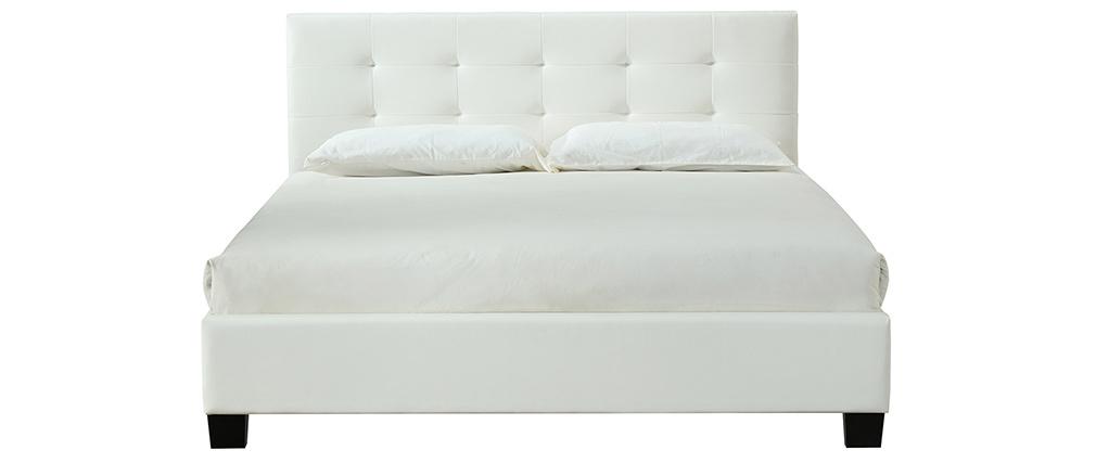 Cama 160 x 200 tela blanca acolchada MARQUISE