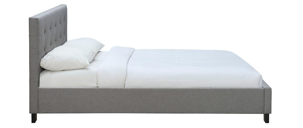 Cama 160 x 200 tela gris acolchada MARQUISE