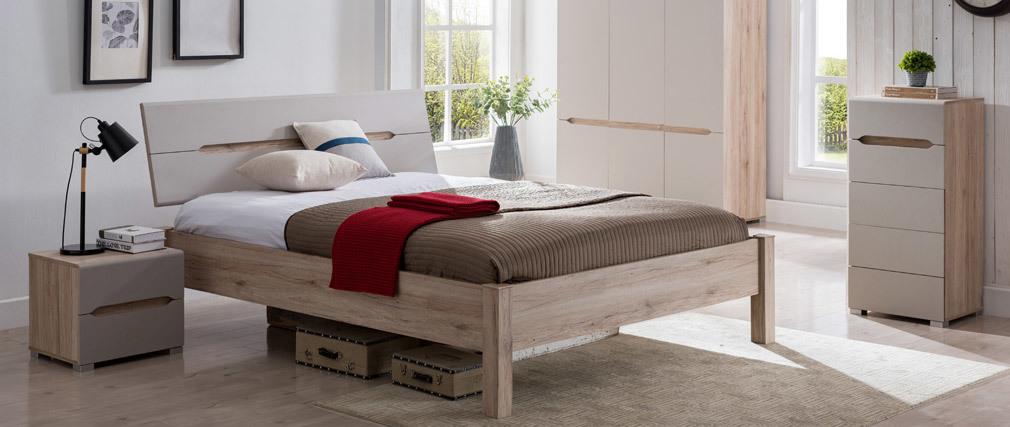 Cama 160x200 cm madera clara y topo WILLY